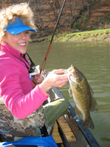 Late fall smallmouth bass that fell to the float 'n fly