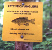 Catch and Release regs sign on Palette Lake