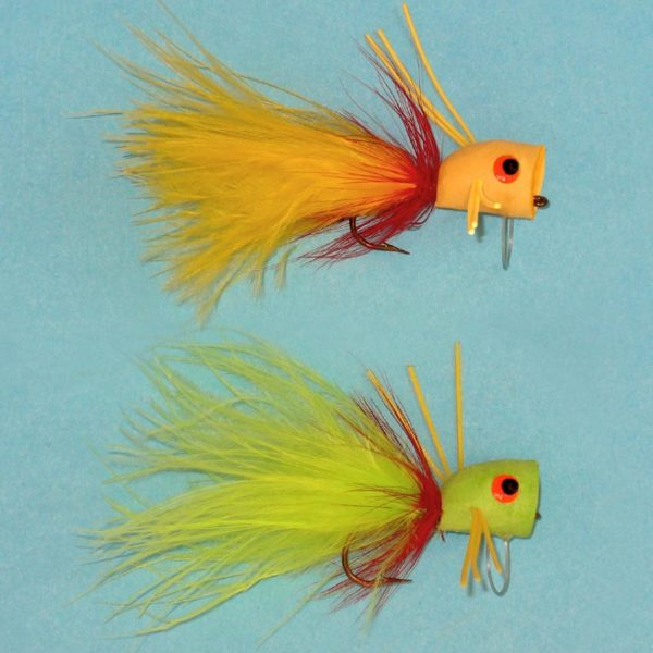 Foam Weedless Roundhead Popper in yellow or chartreuse