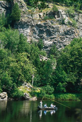 Anglers fly fishing in front of tall limestone bluffs and forest
