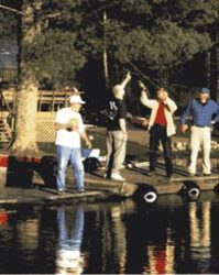 Casting instruction on the dock.