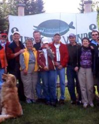 Posing in front of the lodge sign.