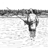 sketch of Tim wade-fishing in Lake Michigan